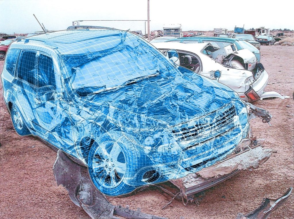 wire mesh of crashed vehicle