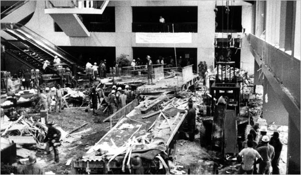 Hyatt Regency Hotel Lobby after Walkway Collapse