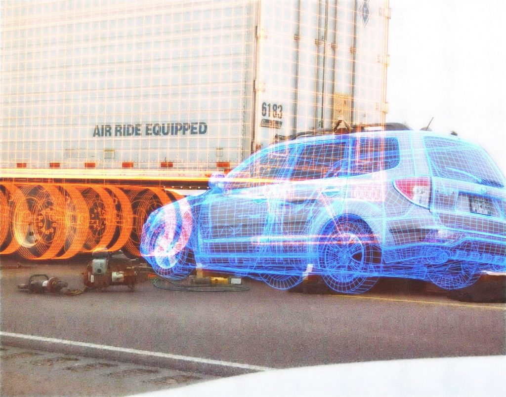 Computer animation wire mesh image of trailer underride