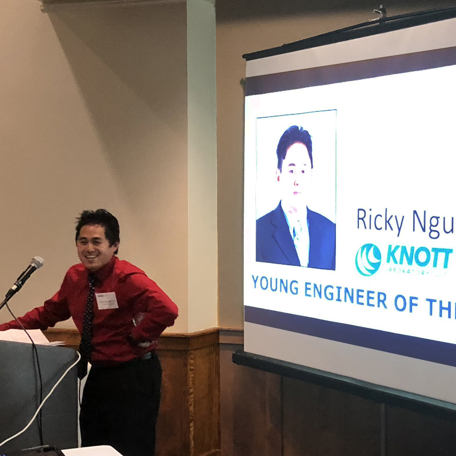 Ricky Nguyen accepting Engineer of the Year award