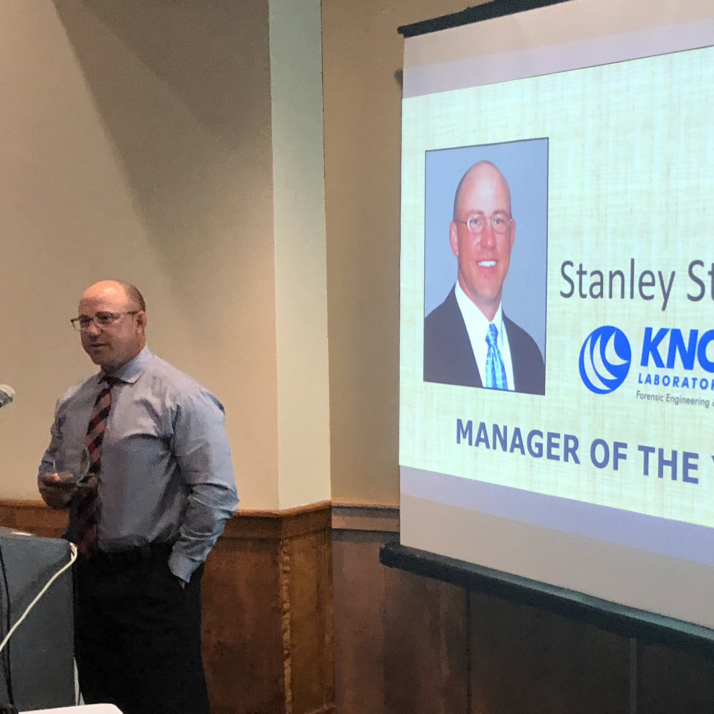 Stanley Stoll accepting Manager of the Year award