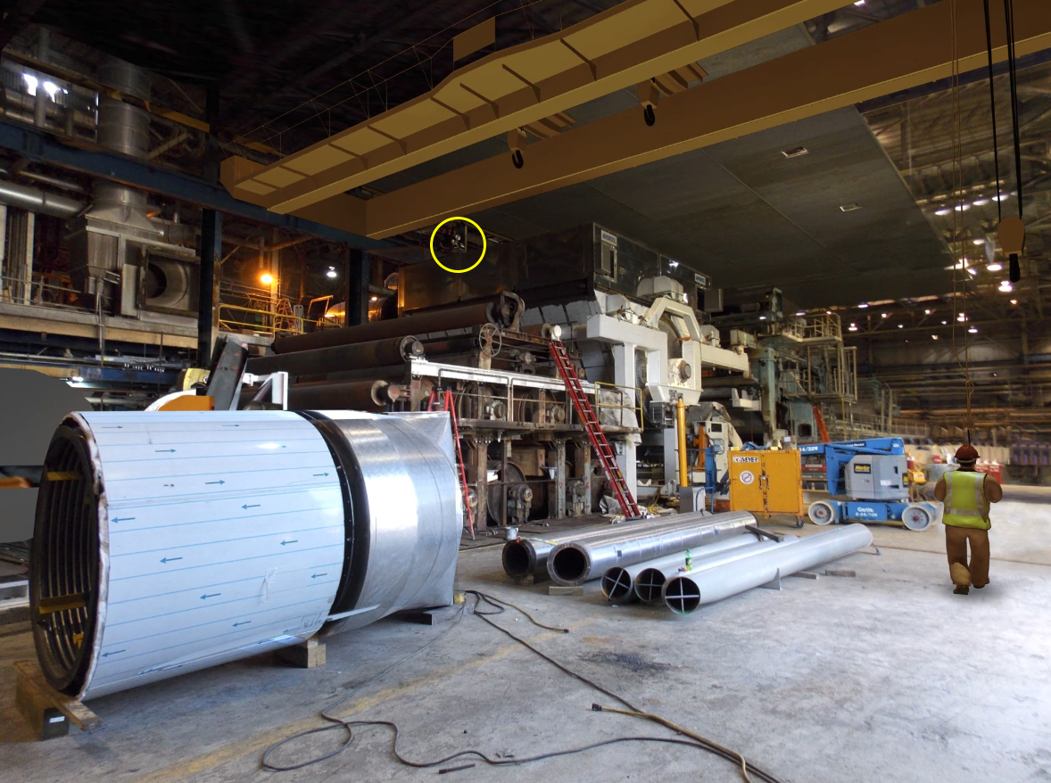 Image of simulation of overhead crane accident