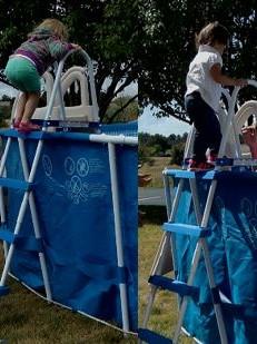 Children Using Pool Ladder
