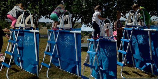 Children Using Pool Ladder